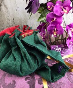 Borsetta verde ricamo rosso retro